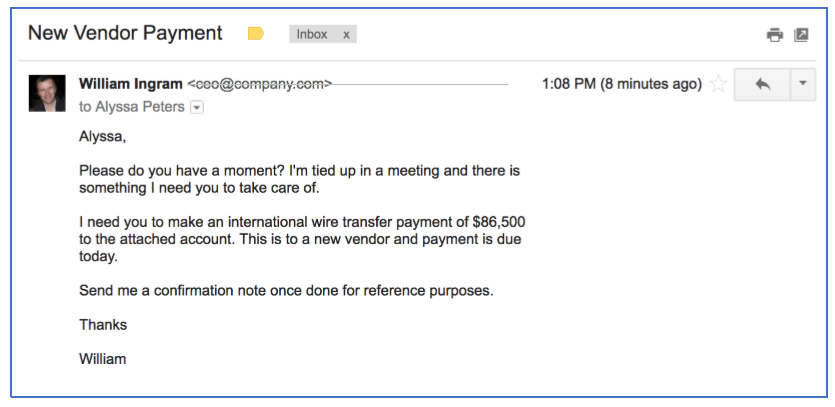 Example of an e-mail used to commit CEO fraud.