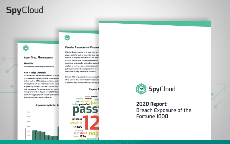 Preview of SpyCloud's 2020 Report: Breach Exposure of the Fortune 1000, which reveals the corporate credential exposure and ATO risks of major enterprises
