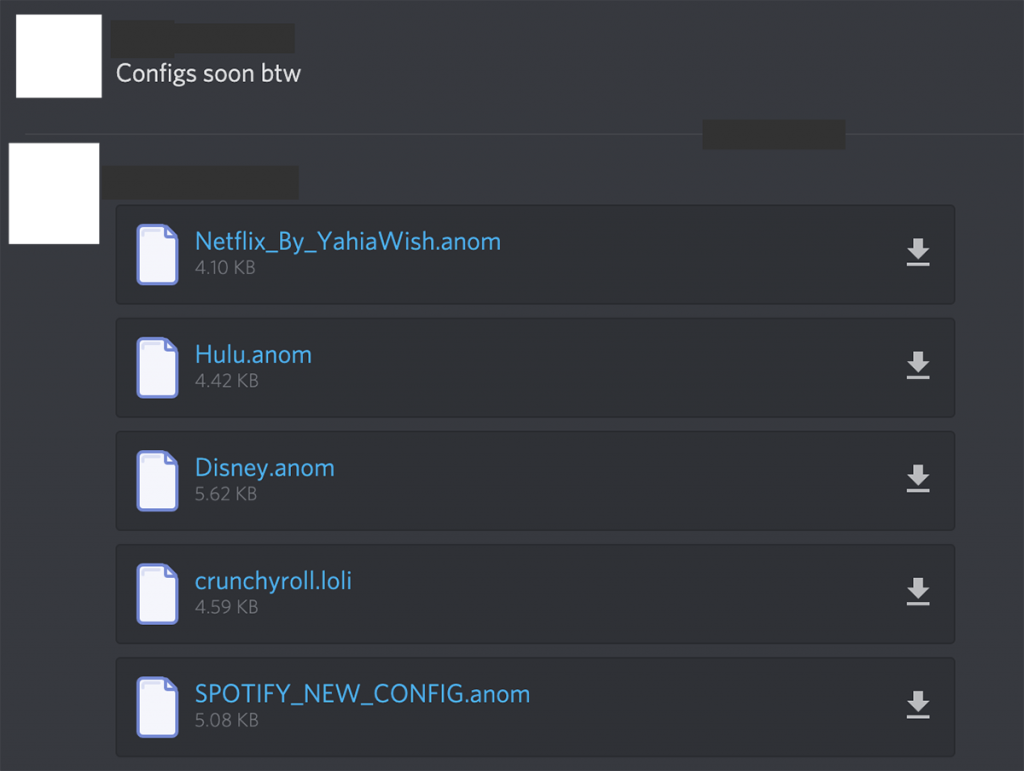 Configuration files posted to a cracking Discord server for services such as Hulu, Disney, and Netflix.