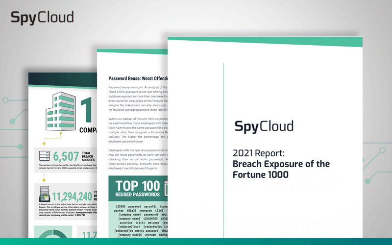 SpyCloud 2021 Report: Breach Exposure of the Fortune 1000